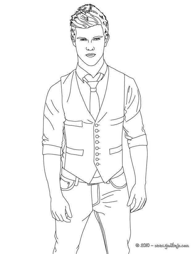 Dibujos para colorear taylor lautner en traje  eshellokidscom