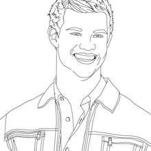 Dibujo para colorear : retrato de taylor lautner sonriendo