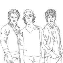 Los Jonas Brothers posando para colorear - Dibujos para Colorear y Pintar - Dibujos para colorear FAMOSOS - JONAS BROTHERS para colorear