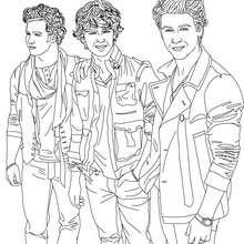 Dibujo para colorear los guapos Jonas Brothers - Dibujos para Colorear y Pintar - Dibujos para colorear FAMOSOS - JONAS BROTHERS para colorear