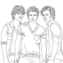 Dibujo para colorear Jonas Brothers posando - Dibujos para Colorear y Pintar - Dibujos para colorear FAMOSOS - JONAS BROTHERS para colorear