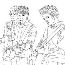 Dibuo para colorear los Jonas brothers tocando guitarra - Dibujos para Colorear y Pintar - Dibujos para colorear FAMOSOS - JONAS BROTHERS para colorear