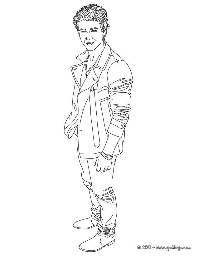 Dibujos para colorear guapo nick jonas paa - es.hellokids.com