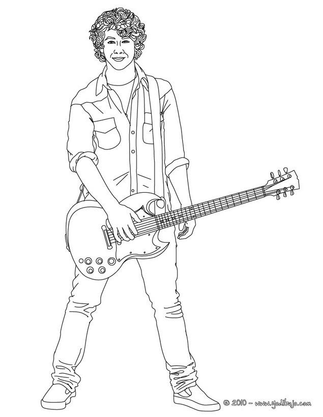 Dibujo de Nick Jona con una guitarra para colorear - NICK JONAS para ...