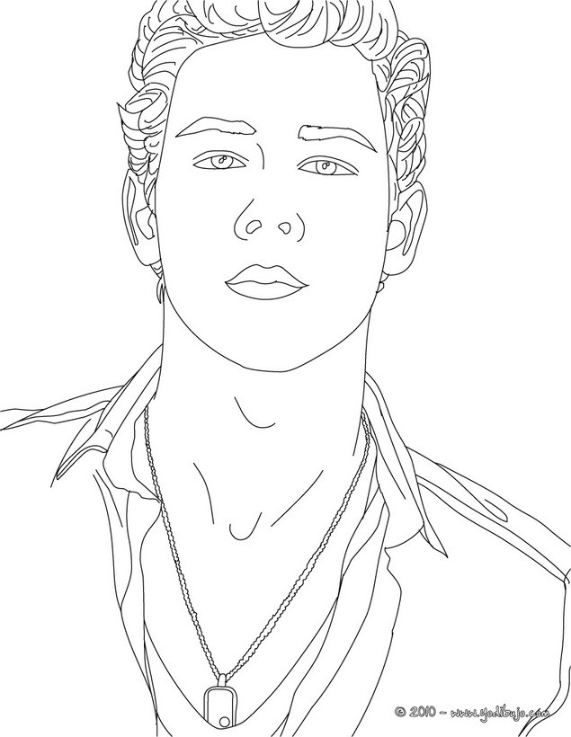 Dibujos para colorear retrato de nick jonas for Jonas coloring pages