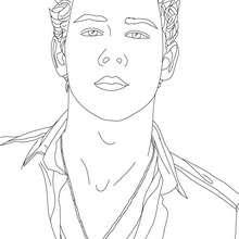 Retrato de Nick Jonas para colorear - Dibujos para Colorear y Pintar - Dibujos para colorear FAMOSOS - JONAS BROTHERS para colorear - NICK JONAS para colorear