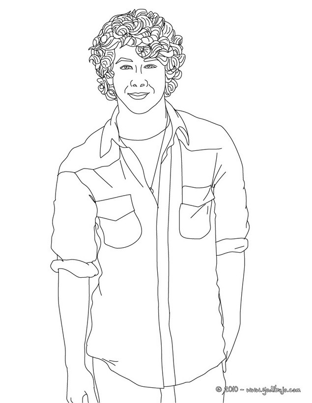 Dibujos para colorear nick jonas sonriendo - es.hellokids.com