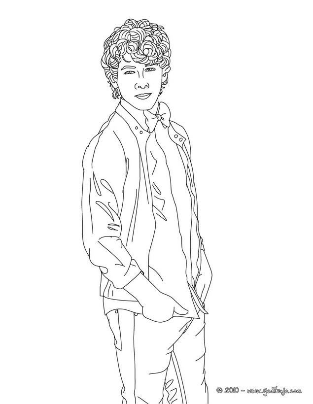 Dibujo para colorear : Nick JOna con las manos en los bolsillos