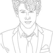 Retrato para colorear Nick Jonas - Dibujos para Colorear y Pintar - Dibujos para colorear FAMOSOS - JONAS BROTHERS para colorear - NICK JONAS para colorear