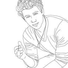 Dibujo de Nick Jonas posando para colorear - Dibujos para Colorear y Pintar - Dibujos para colorear FAMOSOS - JONAS BROTHERS para colorear - NICK JONAS para colorear