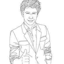 Dibujo para colorear Nick Jonas en traje - Dibujos para Colorear y Pintar - Dibujos para colorear FAMOSOS - JONAS BROTHERS para colorear - NICK JONAS para colorear