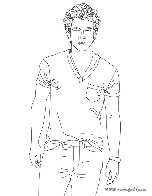 Dibujos para colorear guapo nick jonas paa for Jonas coloring pages