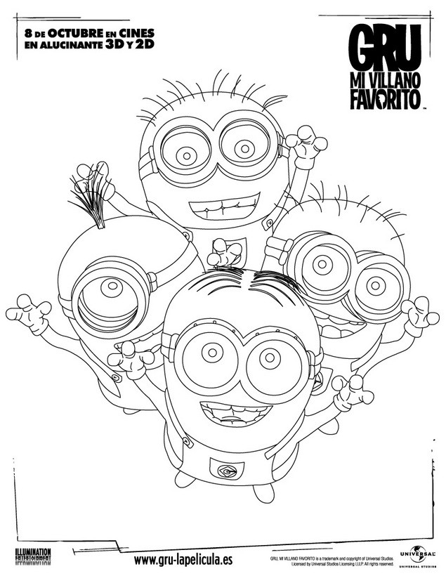 Dibujos para colorear minions felices - es.hellokids.com