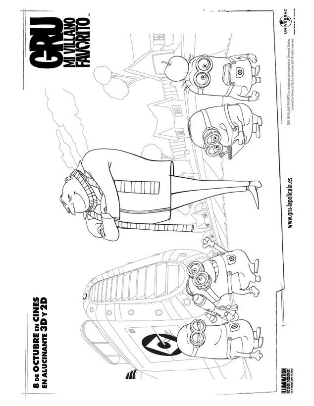 Dibujo para colorear : GRU Y LOS MINIONS
