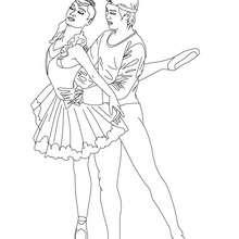 Dibujo para colorear : pareja de bailarines