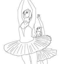 Dibujo para colorear bailarinas haciendo un battement estirado - Dibujos para Colorear y Pintar - Dibujos para colorear DEPORTES - Dibujos de DANZA BALLET para colorear - Dibujos de BAILARINAS para colorear