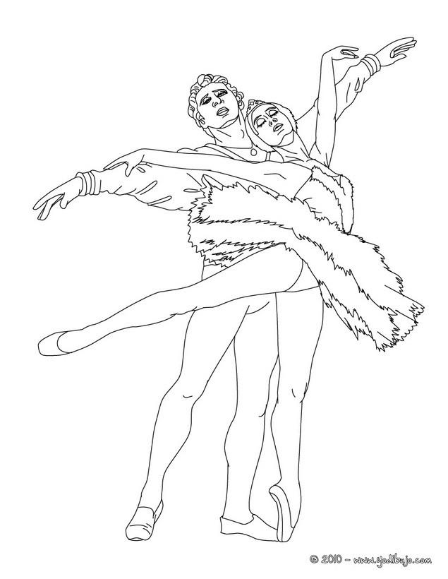 Dibujo para colorear : danza para dos por una pareja de bailarines