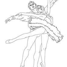Dibujo para colorear danza para dos por una pareja de bailarines - Dibujos para Colorear y Pintar - Dibujos para colorear DEPORTES - Dibujos de DANZA BALLET para colorear - Dibujos de PAREJAS DE BAILARINES para colorear