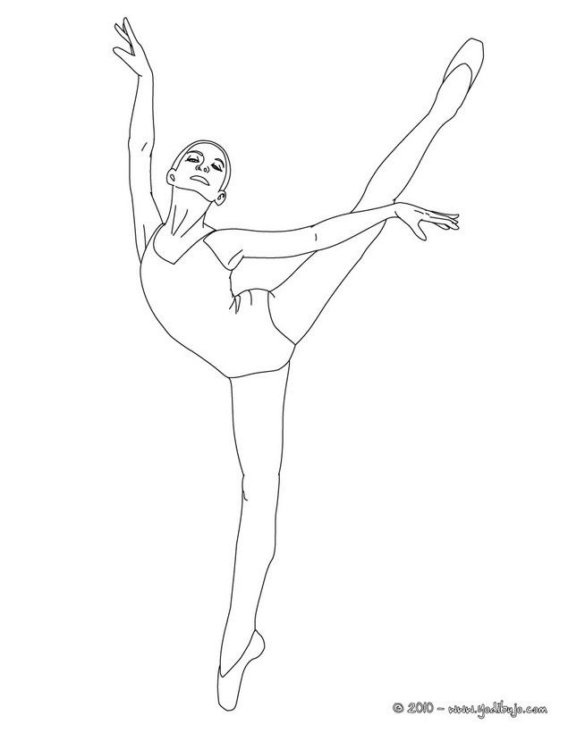 Dibujos para colorear una bailarina haciendo un pique arabesco