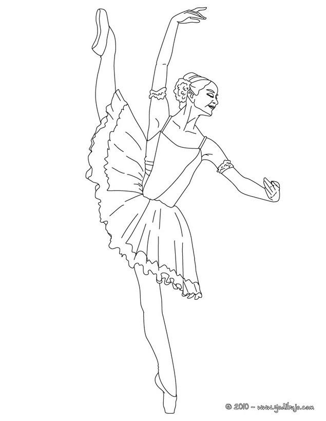 Dibujos para colorear bailarines haciendo una danza de dos  es