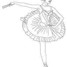 Dibujo para colorear : una bailarina haciendo un arabesco