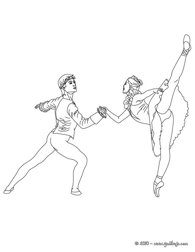 Dibujos para colorear ballet con un apareja de bailarines  es