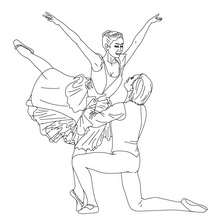 Dibujo para colorear pareja de bailarines haciendo una reverencia - Dibujos para Colorear y Pintar - Dibujos para colorear DEPORTES - Dibujos de DANZA BALLET para colorear - Dibujos de PAREJAS DE BAILARINES para colorear