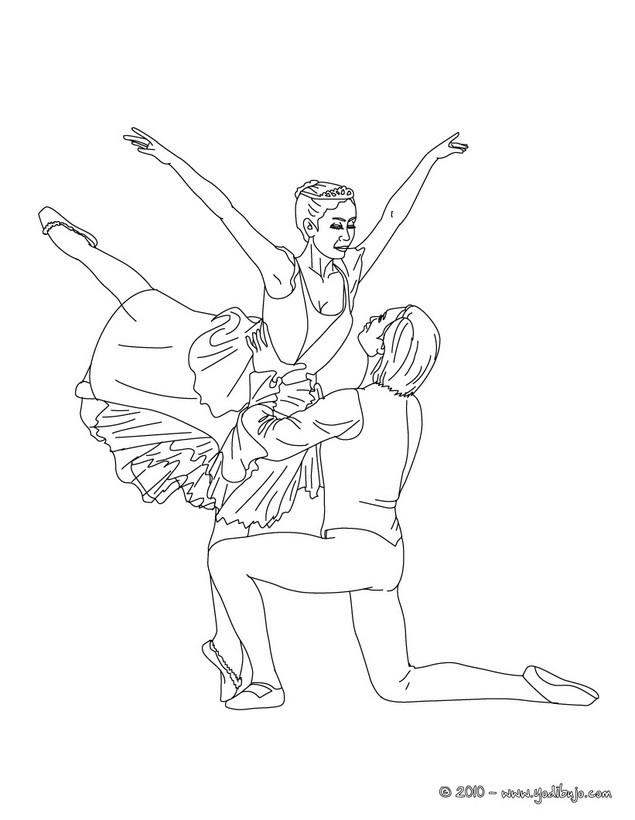Dibujo para colorear : pareja de bailarines haciendo una reverencia