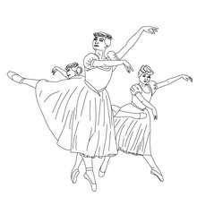 Dibujo para colorear grupo de bailarinas haciendo un pique - Dibujos para Colorear y Pintar - Dibujos para colorear DEPORTES - Dibujos de DANZA BALLET para colorear - Dibujos de BAILARINAS para colorear