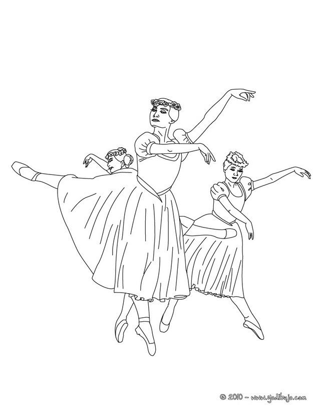 Dibujo para colorear : grupo de bailarinas haciendo un pique