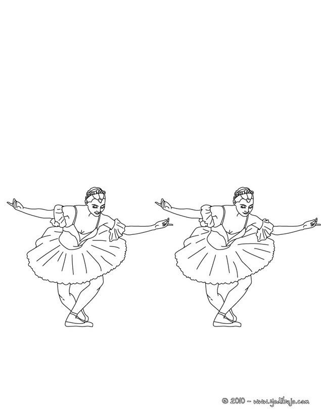 Dibujo para colorear : dos bailarinas saludando