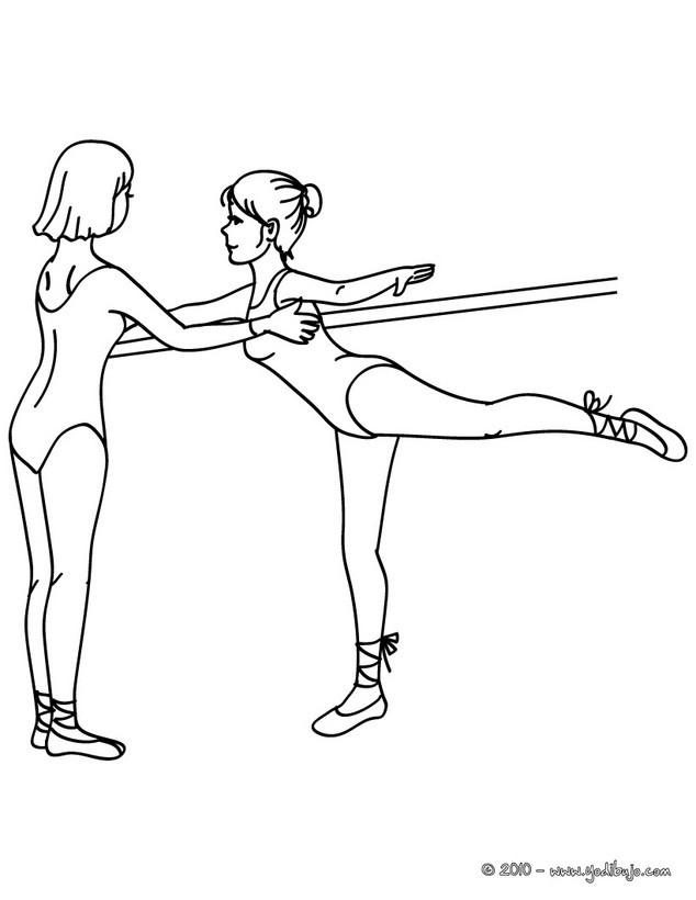 Dibujos para colorear bailarinas ensayando las posiciones en la ...