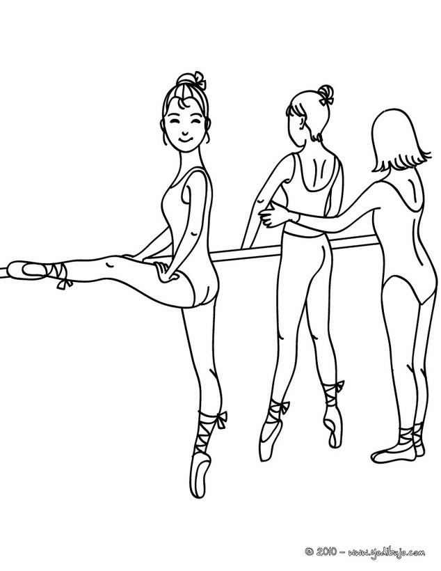 Dibujo para colorear : bailarinas ensayando las posiciones en la barra