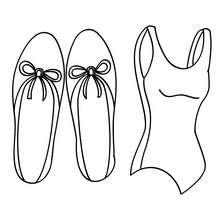 Dibujo para colorear zapatillas y maillot de ballet - Dibujos para Colorear y Pintar - Dibujos para colorear DEPORTES - Dibujos de DANZA BALLET para colorear - Dibujos para colorear ROPA DE DANZA