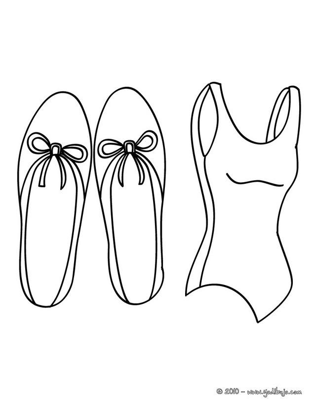 Dibujo para colorear : zapatillas y maillot de ballet