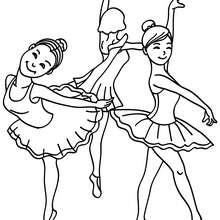 Dibujo para colorear : grupo de bailarinas ensayando durante la clase de ballet