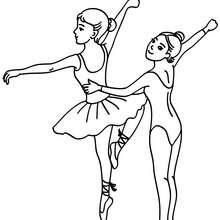Dibujo para colorear bailarina haciendo un pase en la clase de ballet - Dibujos para Colorear y Pintar - Dibujos para colorear DEPORTES - Dibujos de DANZA BALLET para colorear - Dibujo para colorear CLASE DE BALLET