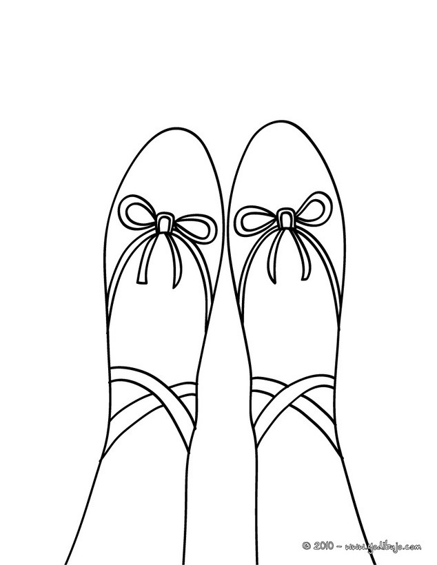 Dibujo para colorear : zapatillas de ballet