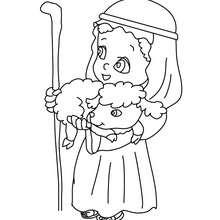 Dibujo para colorear : una pastora del pesebre con un cordero