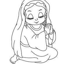 Dibujo de la Virgen Maria rezando para colorear - Dibujos para Colorear y Pintar - Dibujos para colorear FIESTAS - Dibujos para colorear de NAVIDAD - Dibujos para colorear de NAVIDAD NACIMIENTO - Dibujos de VIRGEN MARIA para colorear
