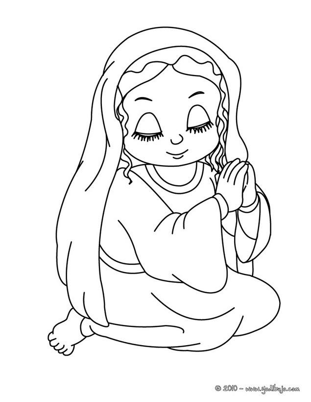 Dibujo para colorear : la Virgen Maria rezando