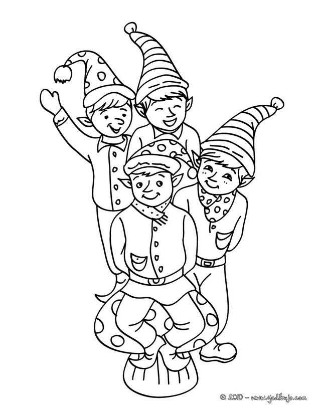 Dibujos para colorear los duendes de navidad felices - es.hellokids.com
