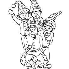 Dibujo de los duendes de navidad felices para colorear - Dibujos para Colorear y Pintar - Dibujos para colorear FIESTAS - Dibujos para colorear de NAVIDAD - Dibujos ELFOS DE NAVIDAD para colorear