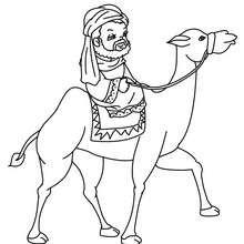 Dibujo para colorear de GASPAR en su camello - Dibujos para Colorear y Pintar - Dibujos para colorear FIESTAS - Dibujos para colorear de NAVIDAD - Dibujos para colorear de los REYES MAGOS de Navidad - Colorear GASPAR
