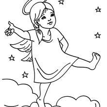 Dibujo parar colorear angel navideño en las nubes - Dibujos para Colorear y Pintar - Dibujos para colorear FIESTAS - Dibujos para colorear de NAVIDAD - Dibujos de ANGELES NAVIDAD para colorear