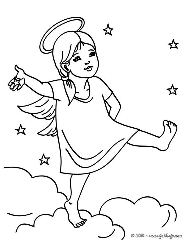 Dibujos Para Colorear Parar Angel Navideño En Las Nubes Es