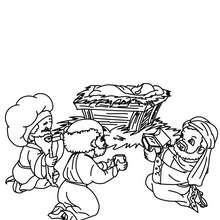 Dibujo para colorear : los 3 reyes magos con el niño Jesús