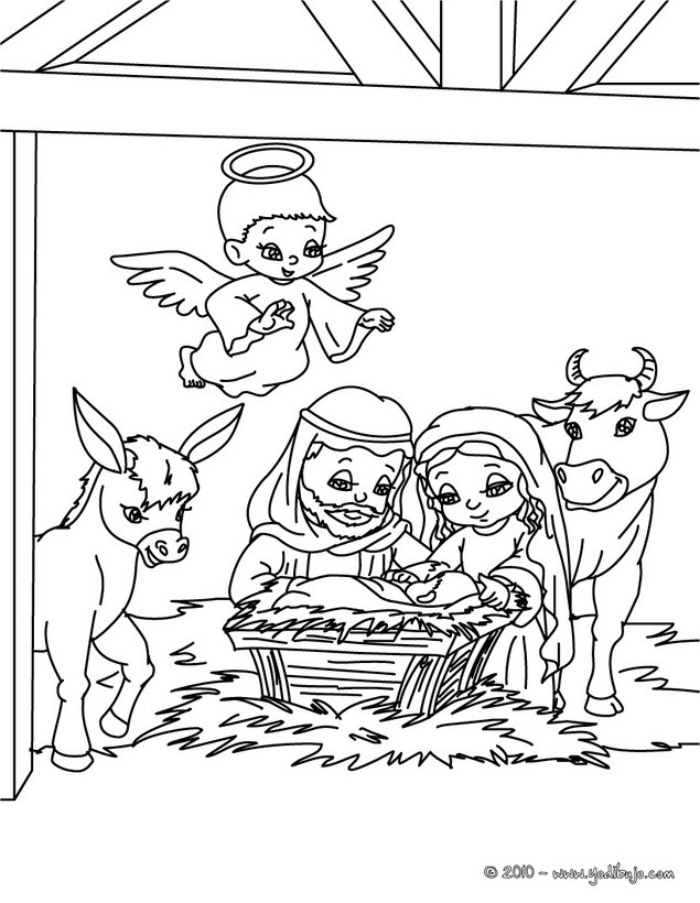 Dibujos para colorear belen navideño   es.hellokids.com