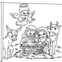Dibujo del belen navideño para colorear - Dibujos para Colorear y Pintar - Dibujos para colorear FIESTAS - Dibujos para colorear de NAVIDAD - Dibujos para colorear de NAVIDAD NACIMIENTO - Dibujos del NACIMIENTO DE JESUS para colorear