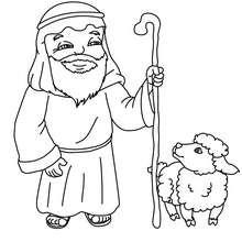 Dibujo para colorear : un pastor del pesebre